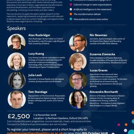 Warsztat dla Reuters Institute of Journalism na Uniwersytecie Oxford